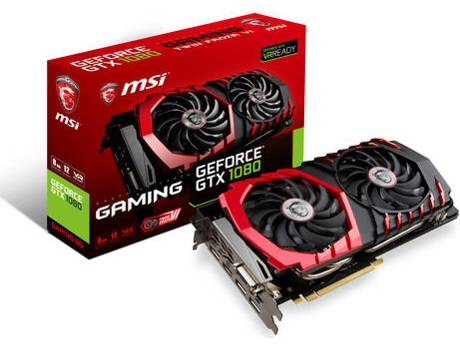 Placa Gráfica MSI GeForce GTX 1080 Gaming (NVIDIA - 8 GB DDR5) — NVIDIA | GTX 1080