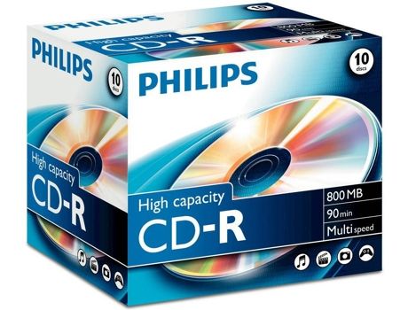 CD-R PHILIPS 90Min 800MB 40x Jewel Case (10 unidades) — CD-R / 10 Unidades