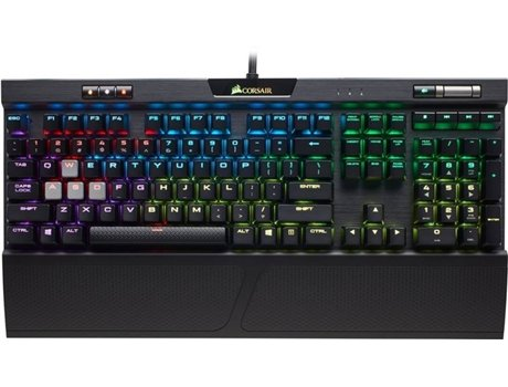Teclado Gaming CORSAIR K70 RGB MK2 (USB - Português - Cherry MX Red) — Com fio USB | Mecânico | Layout Português | Switch Cherry MX Red | Iluminado