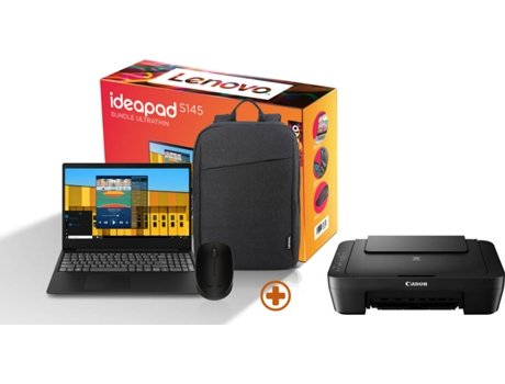Pack Ultrafino LENOVO Ideapad (Portátil S145-15IWL-392 + Mochila + Rato M170) + Impressora* — Windows 10 Home | Full HD