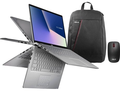 Pack ASUS ZenBook Flip 14 (Portátil UM462DA-R7CVXCB1 + Mochila 90-XB4000BA00060 + Rato WT300 RF) — Windows 10 | Full HD