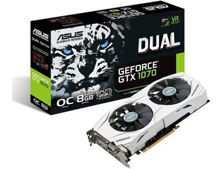 Placa Gráfica ASUS GEFORCE GTX 1070 DUAL 8GB — GeForce GTX 1070 / 1531 MHz / 256 bit