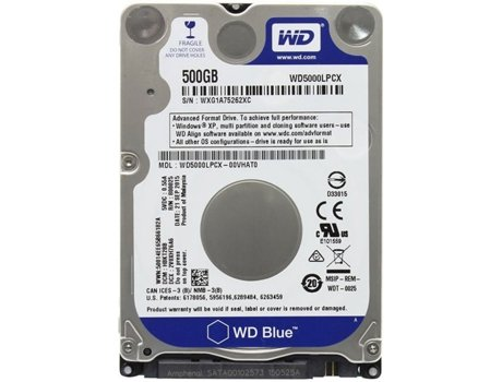 Disco Interno 2.5'' WESTERN DIGITAL 500GB Caviar Blue WD5000LPCX — 2.5'' / 500 GB / SATA3 6 Gb/s