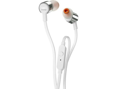 Auriculares Com fio JBL T 210 (In Ear - Microfone - Prateado) | [6046251 ]