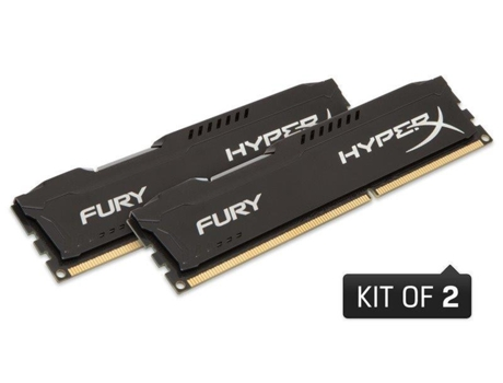Memória RAM DDR3 2x4GB 1600 MHz CL10 HyperX FURY Black Series — 2 x 4 GB | 1600 MHz | DDR3