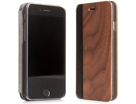 Capa WOODACESSORIES Ecoflip Walnut iPhone 7, 8 Castanho — Compatibilidade: iPhone 7, 8