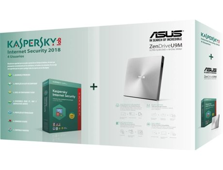 Pack ASUS Zen Drive U9M + Kaspersky Internet Security MD 4 User 1 Ano — Drive Externa / Software de Segurança