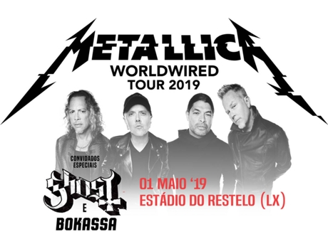 Bilhete Concerto Metallica Worldwired Tour 2019 — Estádio Restelo | Lisboa