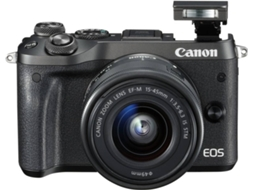 Máquina Fotográfica Mirrorless CANON EOS M6 + 15-45mm (24.2 MP - Sensor: APS-C - ISO: 100 a 25600) — 24.2 MP | ISO Auto ate 25600