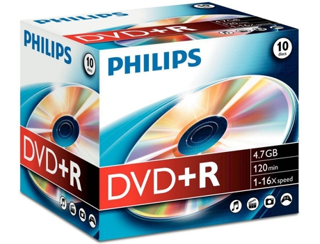 DVD+R PHILIPS 4,7GB 16x Jewel Case (10 unidades) — DVD+R / 10 Unidades