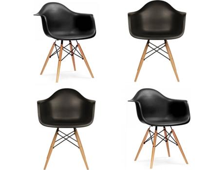 Cadeira de Visitante Neo, 62 x 82,5 x 62 cm, PP e Madeira, Preto, 4 Unidades