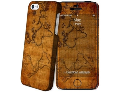 Capa+Skin I-PAINT iPhone 5/5S/Se Map — Capa / iPhone 5/5S/Se