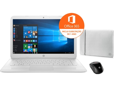 Pack Portátil HP Stream 14-CB055NP - 3RN70EA + Rato HP X3000 H2C22AA + Sleeve 2UF61AA — Windows 10 Home | HD