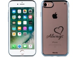 Capa WORDS Love Always iPhone 7, 8 Azul — Compatibilidade: iPhone 6, 6s, 7 ,8
