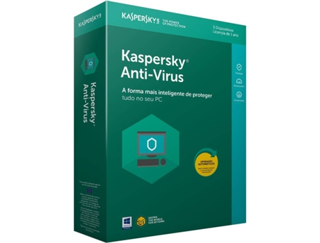 Software KASPERSKY Anti-Vírus 2018 3 Users — Software / Segurança