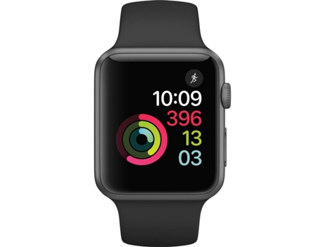 Apple Watch S1 42mm Space Gray com Bracelete desportiva Preta — iOS / Até 18 horas