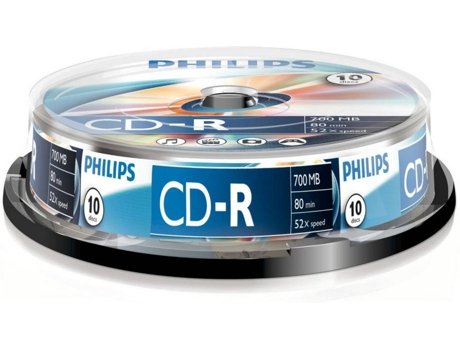 CD-R PHILIPS 80Min 700MB 52x Cakebox (10 unidades) — CD-R / 10 Unidades