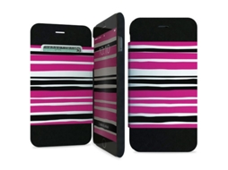 Capa Book Stand iPhone 6/6S I-PAINT Pink Stripes — Capa Book Stand / iPhone 6/6S