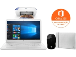 Pack HP Stream (Portátil 14-CB101NP + Impressora Multifunções DESKJET 2630 - V1N03B + Rato Wireless 200 - X6W31AA + Sleeve Neoprene 2UF61AA) — Windows 10 Home | HD