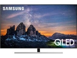 TV SAMSUNG QE55Q80RATXXC (QLED - 55'' - 140 cm- 4K Ultra HD - Smart TV) — TV QLED 4K UHD Plana, Quantum Dot com 100% Volume de Cor, Direct Full Array 4x, Wide Viewing Angle, Quantum HDR 1500, Ultimate UHD Dimming Real, Game Enhancer, Upscaling com AI