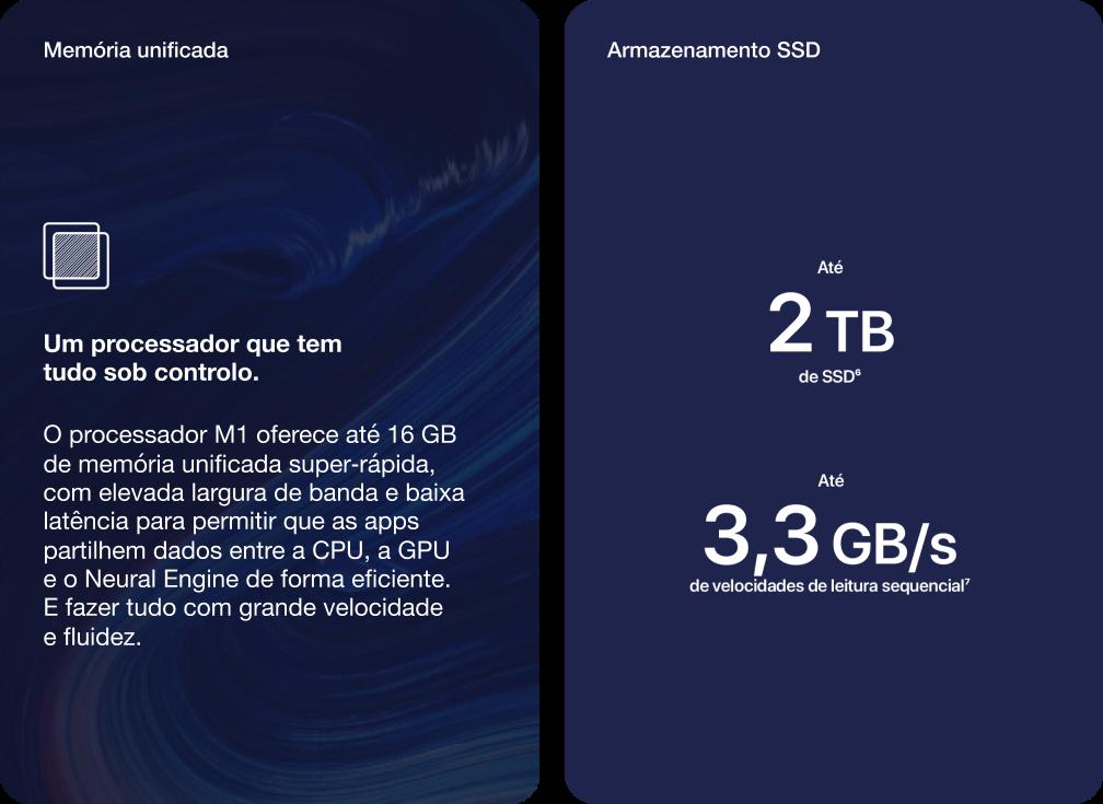 MacBook Pro 13'' Memória e Armazenamento SSD