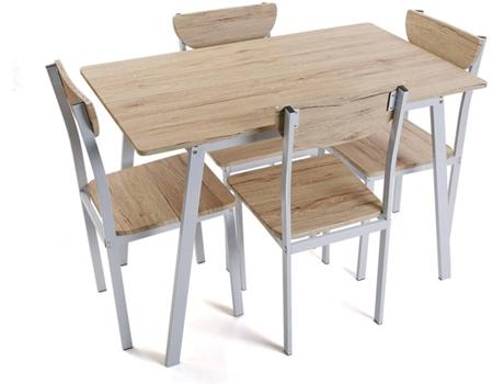 Conjunto Mesa 4 Cadeiras Versa Madeira Wortenpt