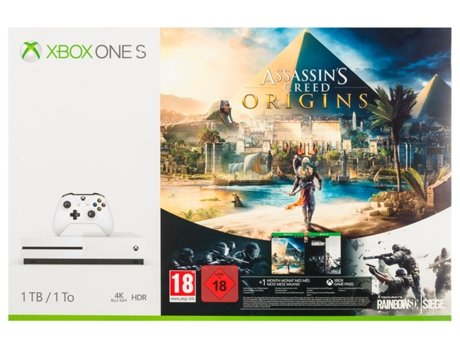 Consola Xbox One S 1TB + Jogo Assassin's Creed Origins + Jogo Tom Clancy's Rainbow Six Siege — 1 TB
