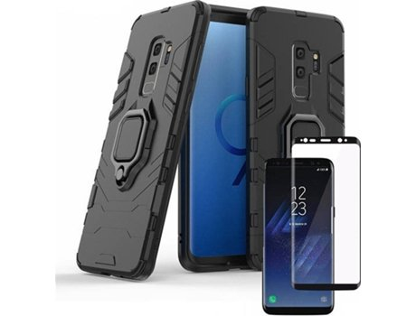Kit Capa e Película Vidro 5D Full Cover Samsung Galaxy S9 PHONECARE 3x1 Military Defender Preto