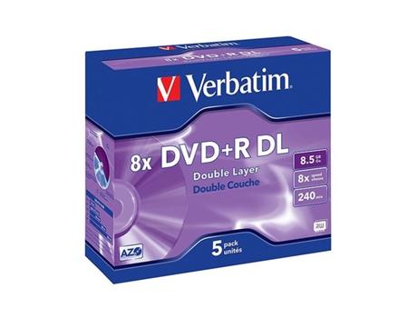 VERBATIM DVD+R DOBLE LAYER 8.5GB 8X JEWEL CASE 5 | [6970644 ]