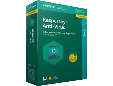 Software KASPERSKY Anti-Vírus 2018 3 Users Renewal — Software | Segurança