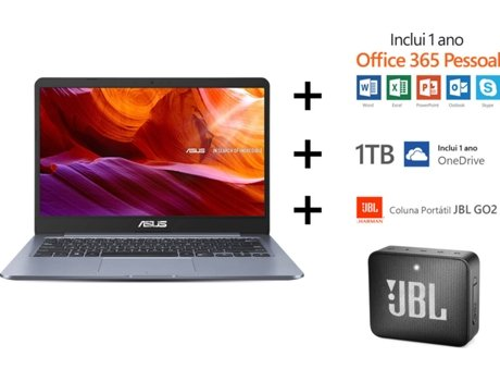 Pack ASUS Laptop E406MA (Portátil 90NB0J81-M02140 + Coluna Portátil JBL GO2) — Windows 10 Home | HD