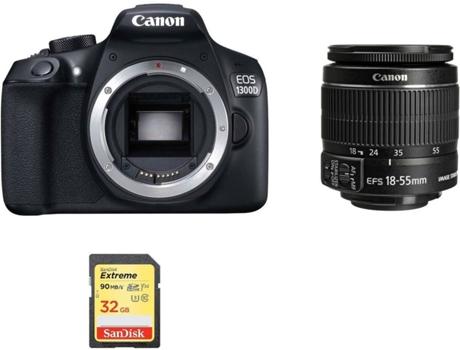 Kit Máquina Fotográfica Reflex CANON EOS 1300D EF-S 18-55mm F3 5-5 6 IS II  + 32 GB SD