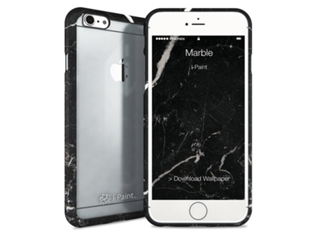 Capa I-PAINT Book Stand Marble iPhone 6, 6s Preto — Compatibilidade: iPhone 6, 6s