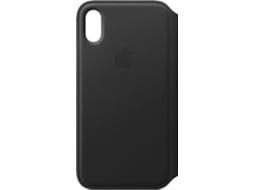 Capa APPLE Leather Folio iPhone X Preto — Compatibilidade: iPhone X