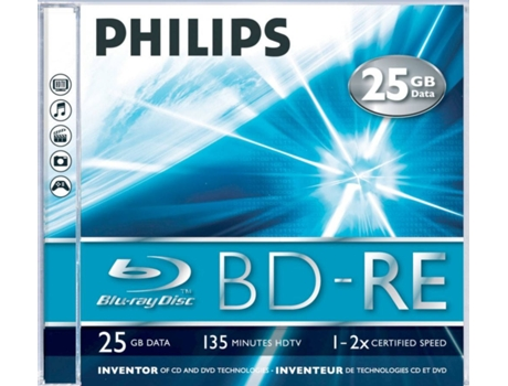 Blu-Ray PHILIPS ReWritable 25GB 2x Jewel Case (5 unidades) — Blu-Ray / 5 Unidades