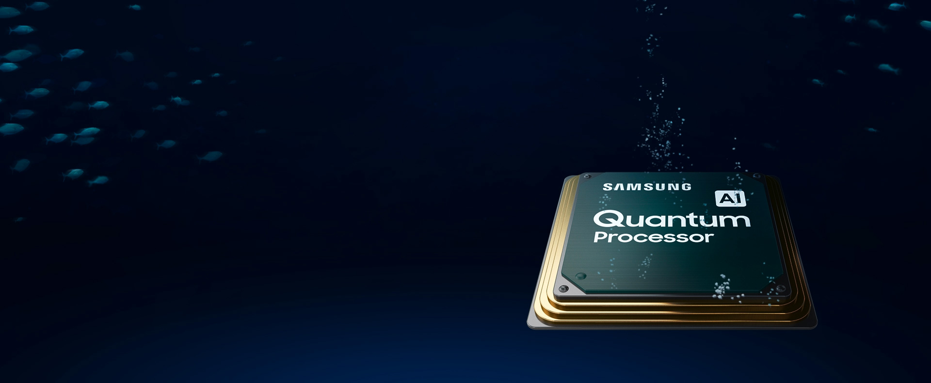 O processador Quantum da nova QLED TV com o sistema de aprendizagem automática para a nova gama de QLED TV da Samsung, envolvido em sombra.