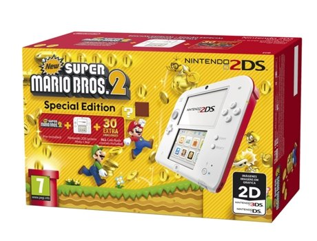 Consola Nintendo 2DS + Jogo New Super Mario Bros 2 (Special Edition) — 4 GB / WI-FI / carregador incluído