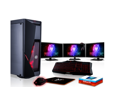Pack Gaming FIERCE Cobra - 883076 (Desktop Gaming + 3 Monitores 21.5'' + HeadSet Gaming) — Windows 10 Home | Wi-Fi