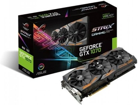 Placa Gráfica ASUS GEFORCE STRIX GTX1070 8GB GAMING — GeForce GTX 1070 / 1506 MHz / 8GB GDDR5