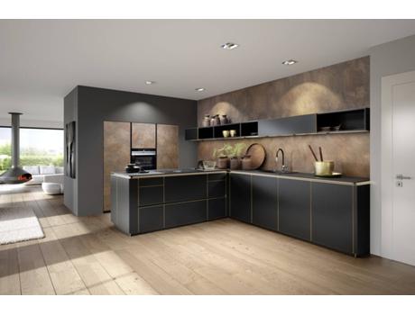 Cozinha Moderna Preta E Dourada Wortenpt