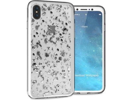 Capa I-PAINT Glitter iPhone X Prateado — Compatibilidade: iPhone X