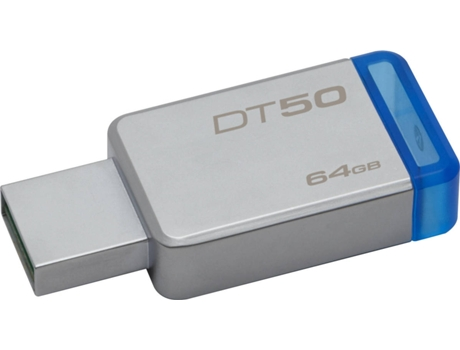 Pen USB KINGSTON DataTraveler 50 64GB USB 3.1 Metal/Azul — 64GB | USB 3.0
