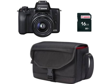 Kit Máquina Fotográfica Reflex CANON M50 + 15-45 mm (24.1 MP - Sensor   APS-C - ISO  100 a 25600). Estojo SB130 + Cartão SD ... 75b8d2574390