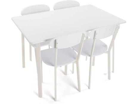 Conjunto Mesa 4 Cadeiras Versa Branco Wortenpt