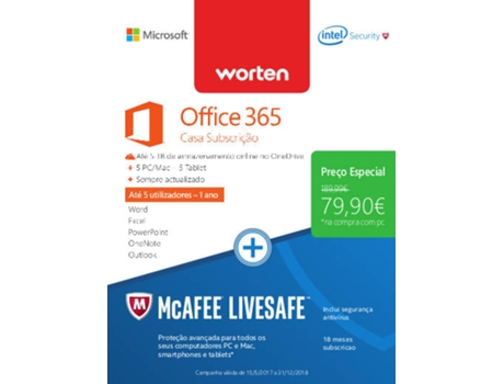 Software MICROSOFT Office 365 Home + Antivírus MCAFEE Livesafe — Software | Produtividade