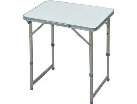 Outsunny Mesa de Campismo Dobrável e Ajustável de 47,5 a 64 cm- Cor: Branco- Alumínio e MDF- 60 x 45 x 64 cm