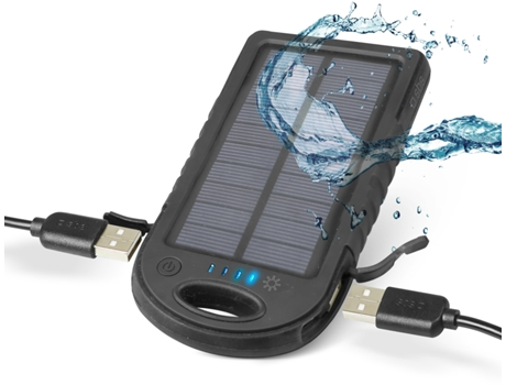 Powerbank SBS Waterproof Preto — 5000 mAh | 2 USB | MicroUSB