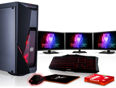Pack Gaming FIERCE Cobra - 883145 (Desktop Gaming + 3 Monitores 24'') — Sem Sistema Operativo | Wi-Fi