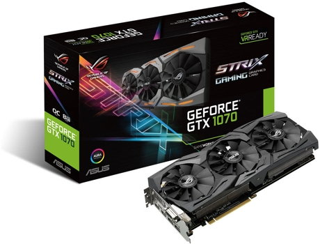 Placa Gráfica ASUS STRIX GTX1070 8GB GAMING OC — Strix GTX1070 / 1657MHz / 8GB DDR5