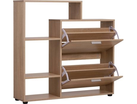 HOMCOM Sapateiro de madeira com prateleiras armário para entrada sapatos corredor sapato organizador multifuncional sapato armário de armazenamento 101.5x25.5x98cm
